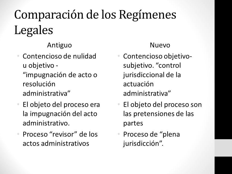 Comparación de los Regímenes Legales