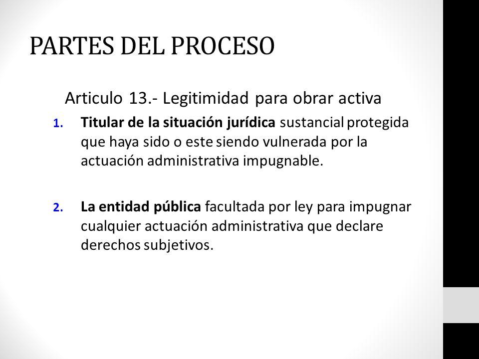 PARTES DEL PROCESO Articulo 13.- Legitimidad para obrar activa
