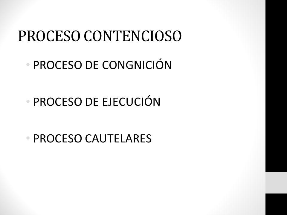 PROCESO CONTENCIOSO PROCESO DE CONGNICIÓN PROCESO DE EJECUCIÓN