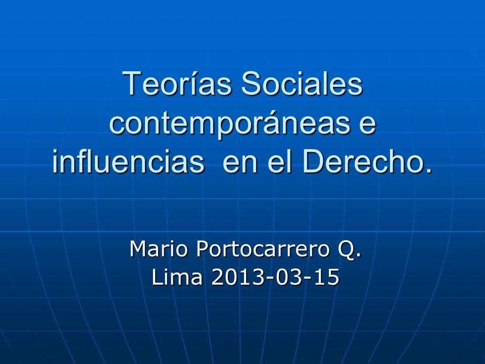 Teorías Sociales contemporáneas e influencias en el Derecho.