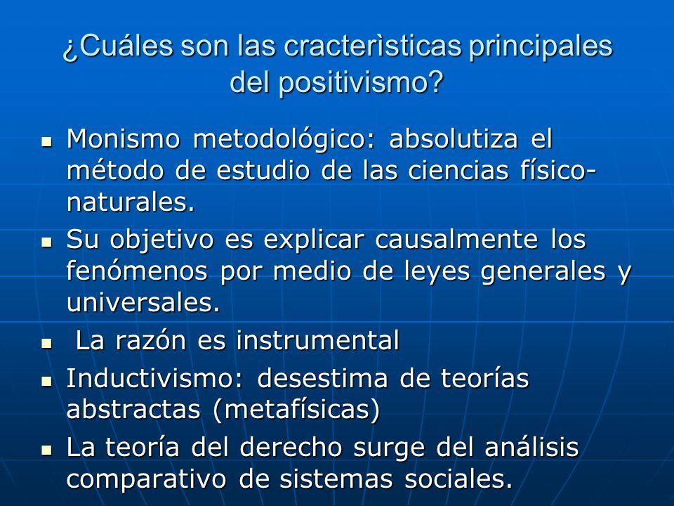¿Cuáles son las cracterìsticas principales del positivismo