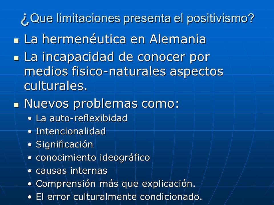 ¿Que limitaciones presenta el positivismo