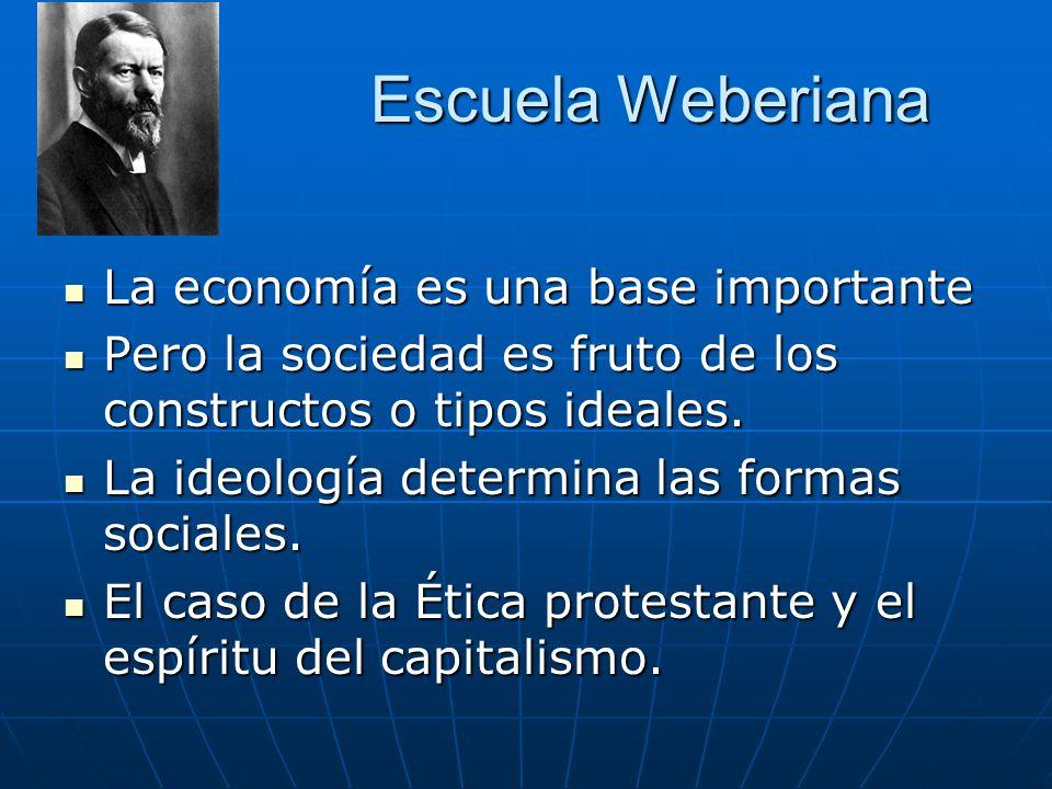 Escuela Weberiana La economía es una base importante