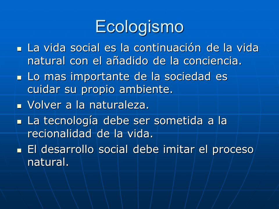 Ecologismo La vida social es la continuación de la vida natural con el añadido de la conciencia.