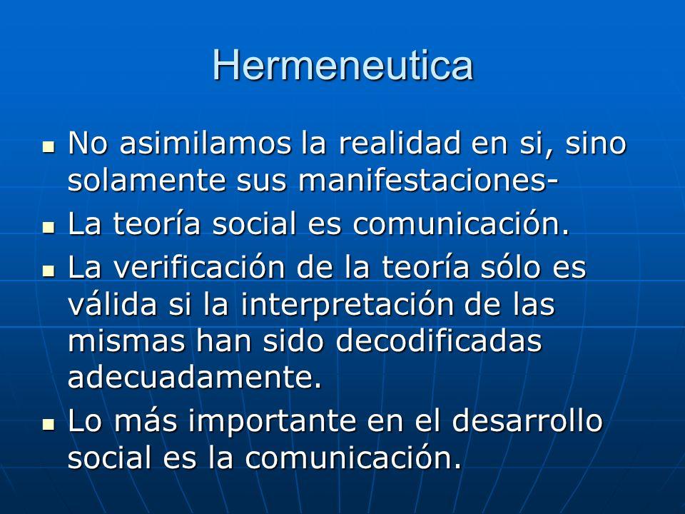 Hermeneutica No asimilamos la realidad en si, sino solamente sus manifestaciones- La teoría social es comunicación.