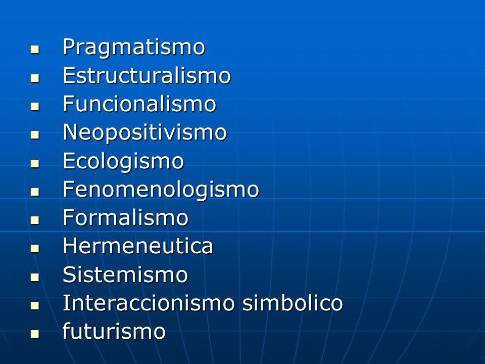 Pragmatismo Estructuralismo. Funcionalismo. Neopositivismo. Ecologismo. Fenomenologismo. Formalismo.