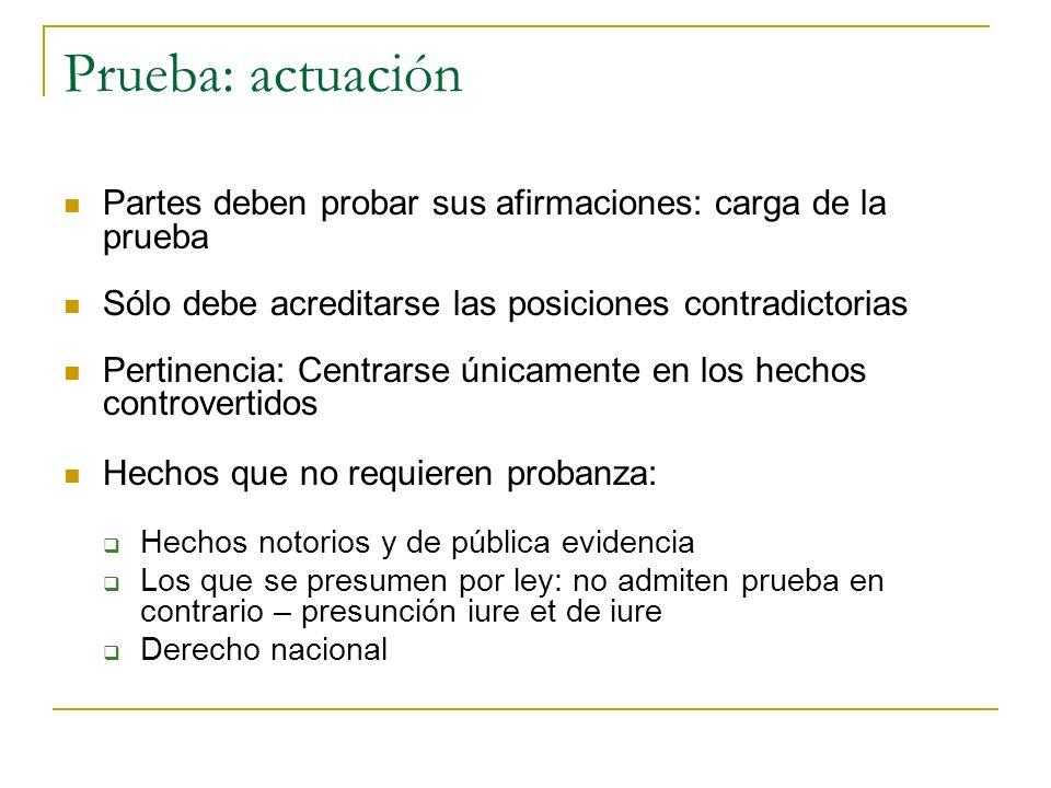 Prueba: actuación Partes deben probar sus afirmaciones: carga de la prueba. Sólo debe acreditarse las posiciones contradictorias.