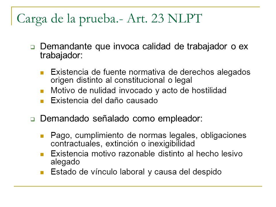 Carga de la prueba.- Art. 23 NLPT