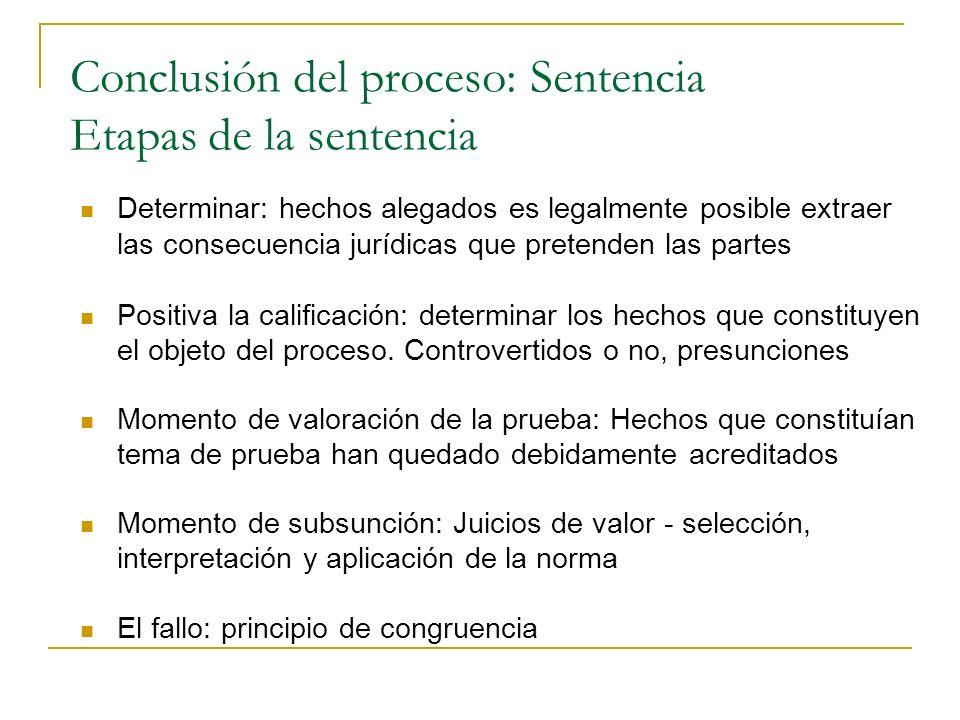 Conclusión del proceso: Sentencia Etapas de la sentencia