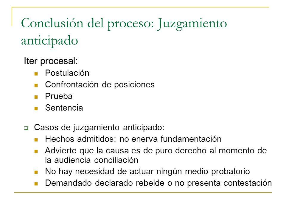 Conclusión del proceso: Juzgamiento anticipado