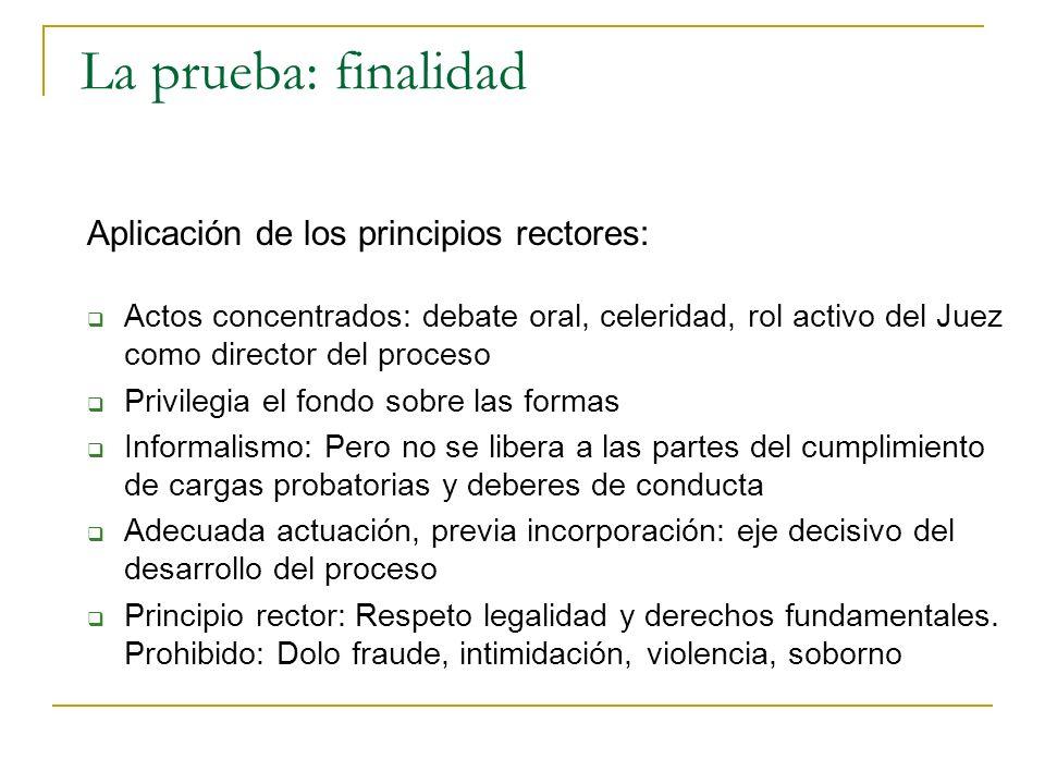 La prueba: finalidad Aplicación de los principios rectores: