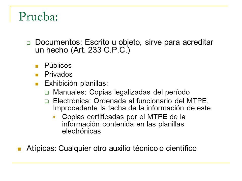 Prueba: Documentos: Escrito u objeto, sirve para acreditar un hecho (Art. 233 C.P.C.) Públicos. Privados.