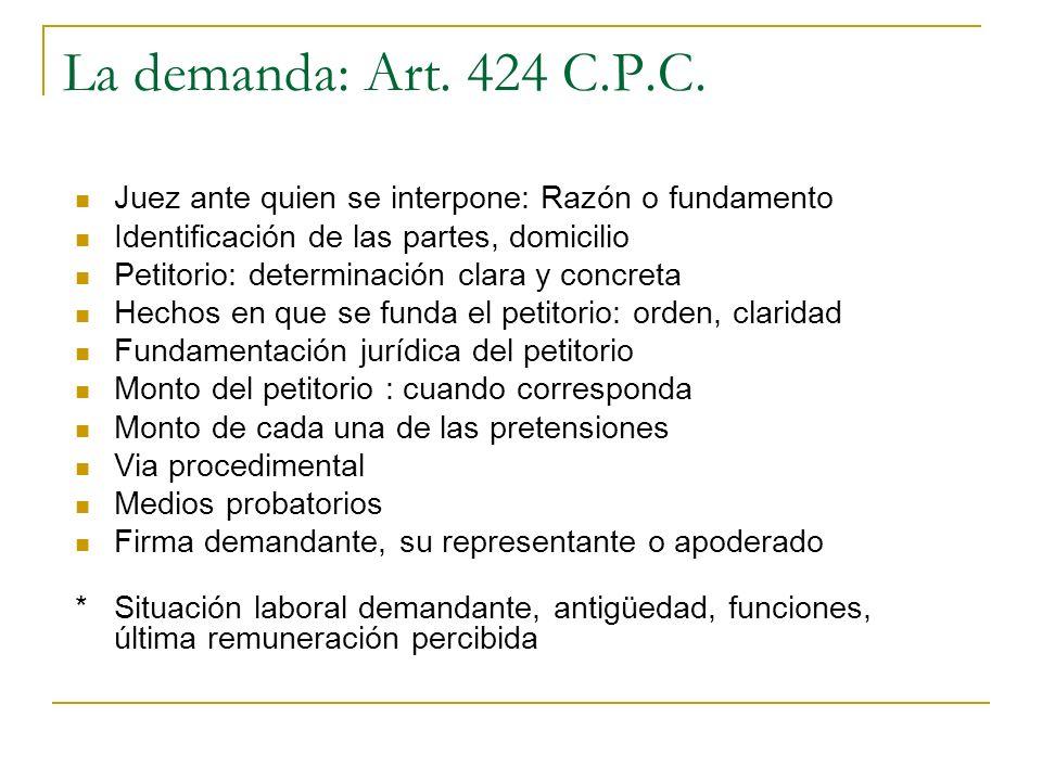 La demanda: Art. 424 C.P.C.Juez ante quien se interpone: Razón o fundamento. Identificación de las partes, domicilio.