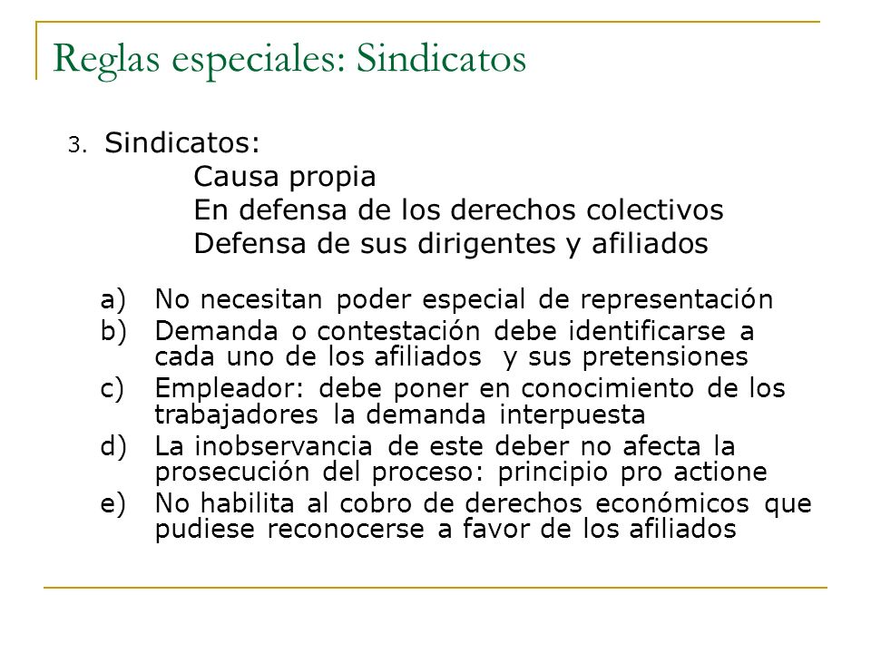 Reglas especiales: Sindicatos
