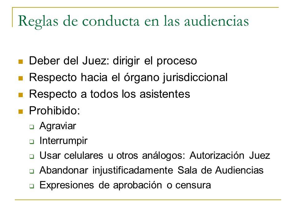 Reglas de conducta en las audiencias