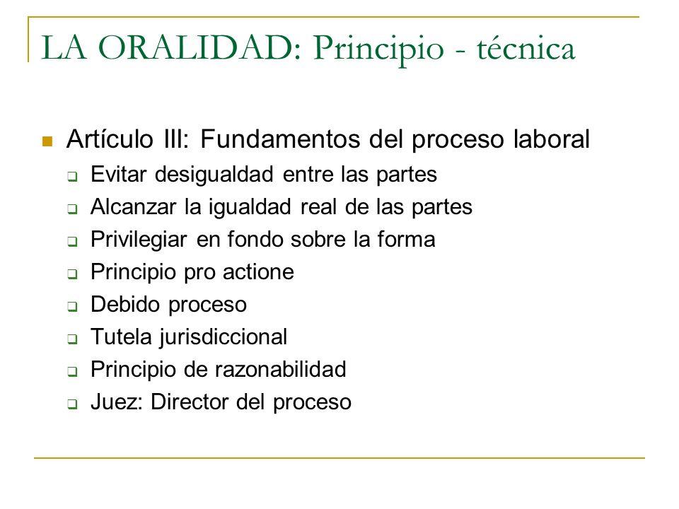 LA ORALIDAD: Principio - técnica