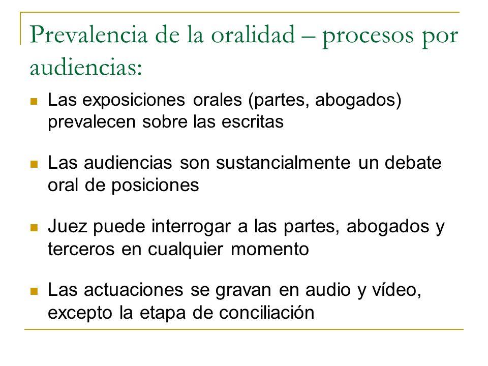 Prevalencia de la oralidad – procesos por audiencias: