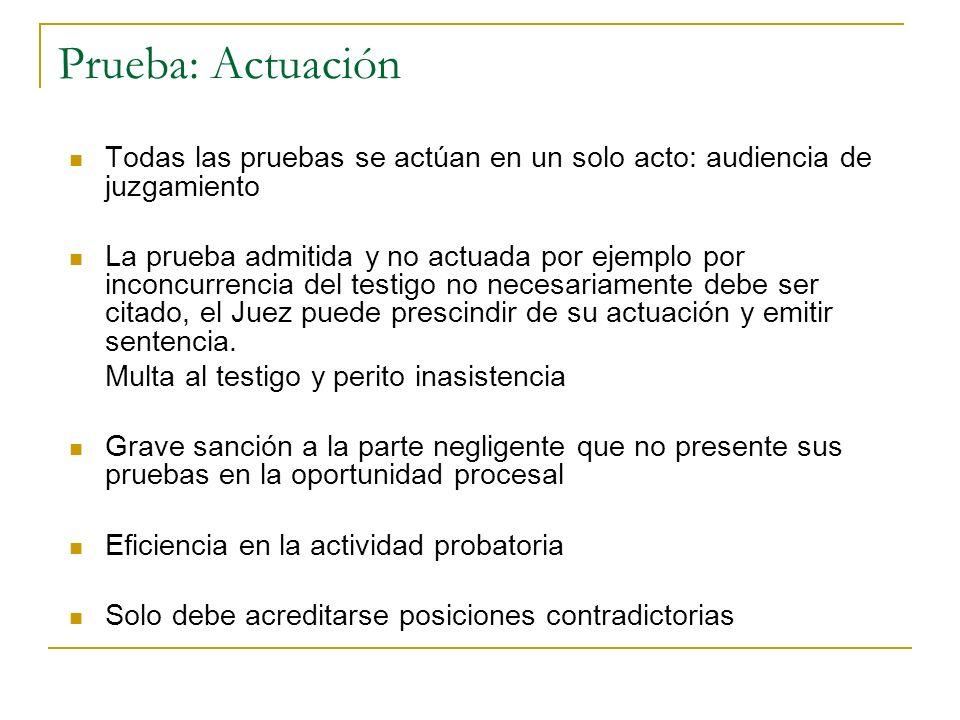 Prueba: ActuaciónTodas las pruebas se actúan en un solo acto: audiencia de juzgamiento.
