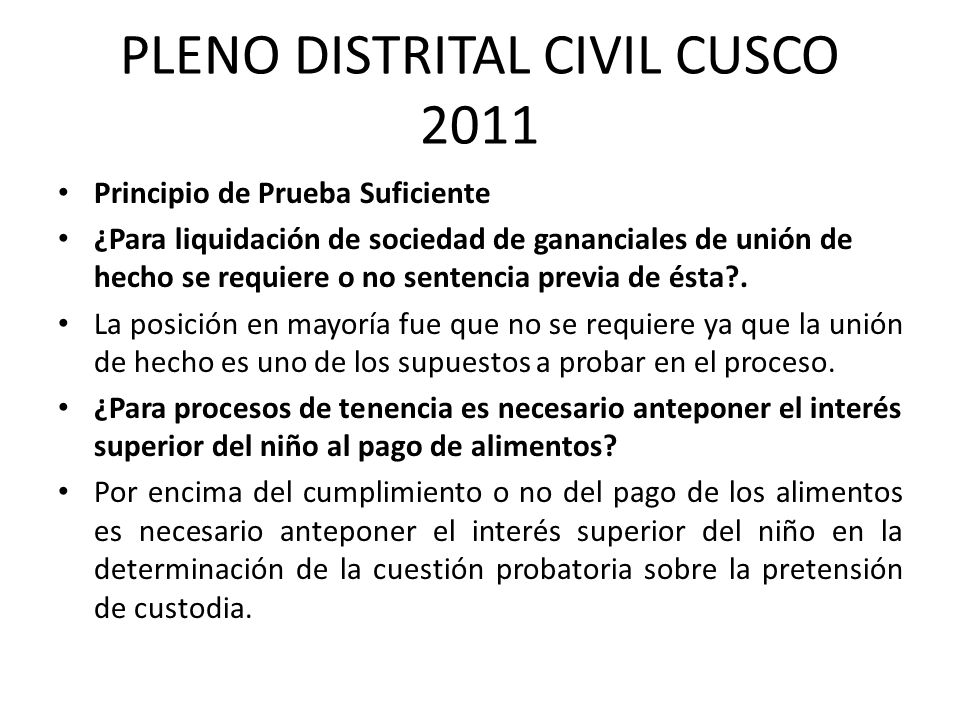 PLENO DISTRITAL CIVIL CUSCO 2011