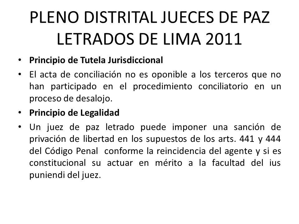 PLENO DISTRITAL JUECES DE PAZ LETRADOS DE LIMA 2011