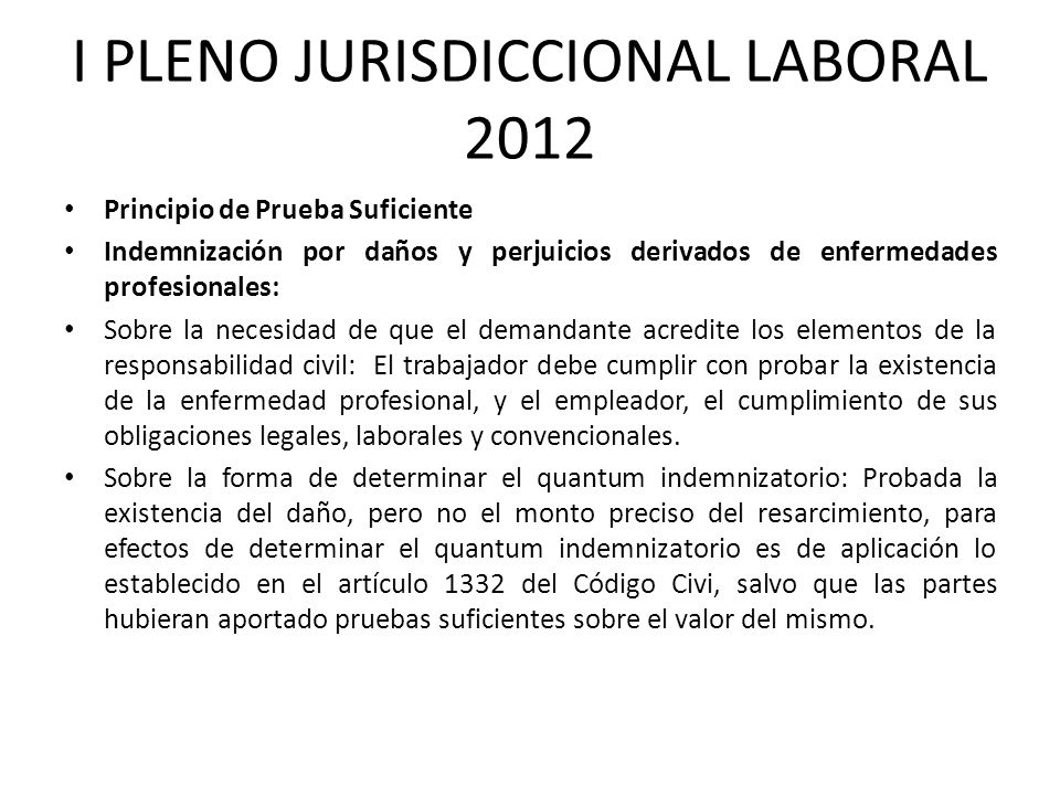 I PLENO JURISDICCIONAL LABORAL 2012
