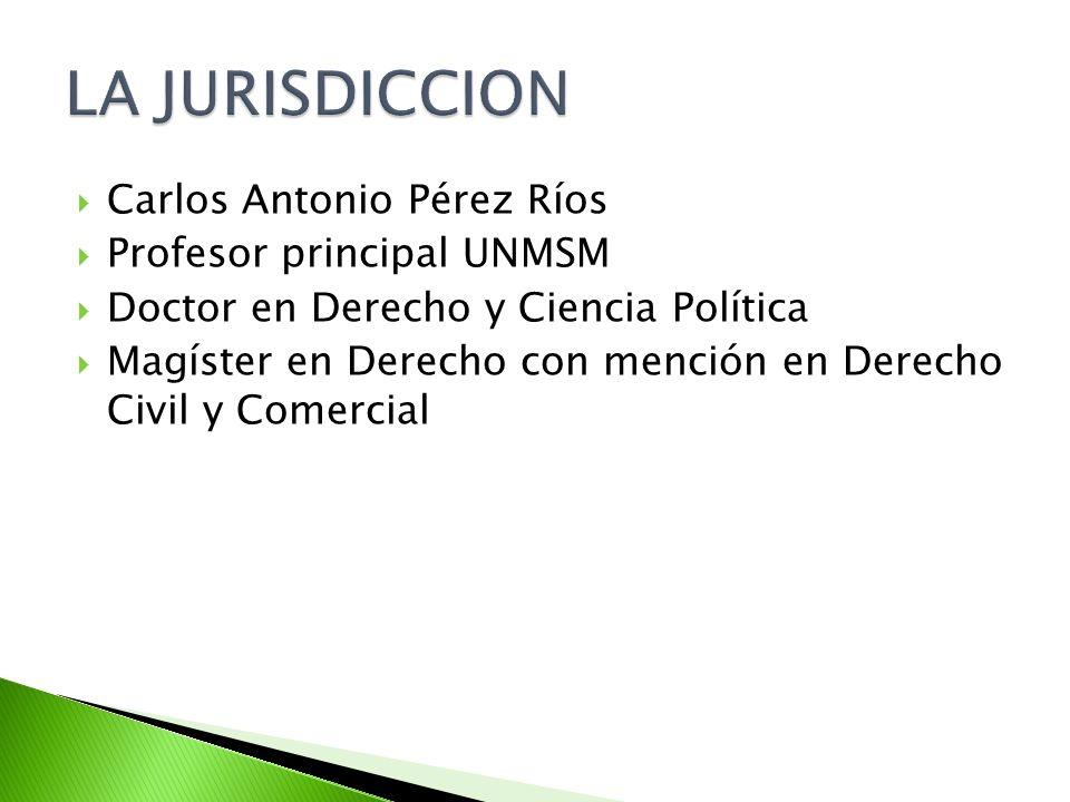 LA JURISDICCION Carlos Antonio Pérez Ríos Profesor principal UNMSM