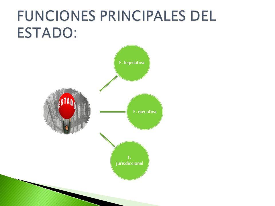 FUNCIONES PRINCIPALES DEL ESTADO: