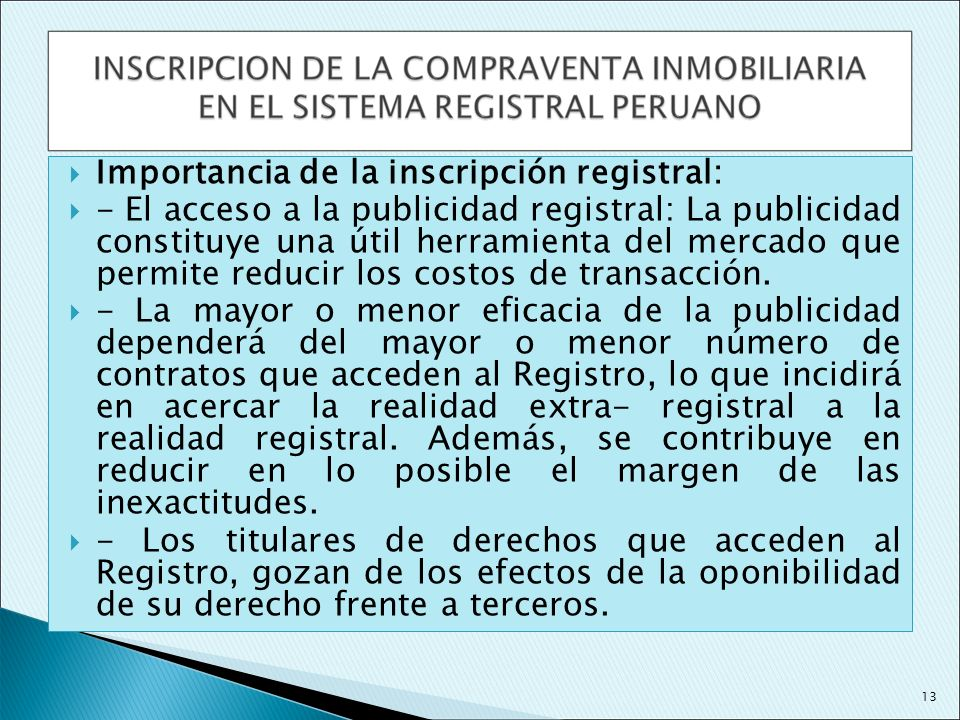 Importancia de la inscripción registral: