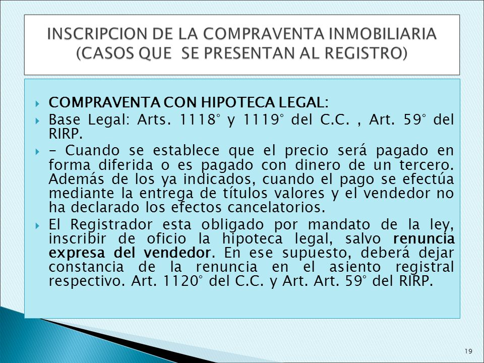 COMPRAVENTA CON HIPOTECA LEGAL: