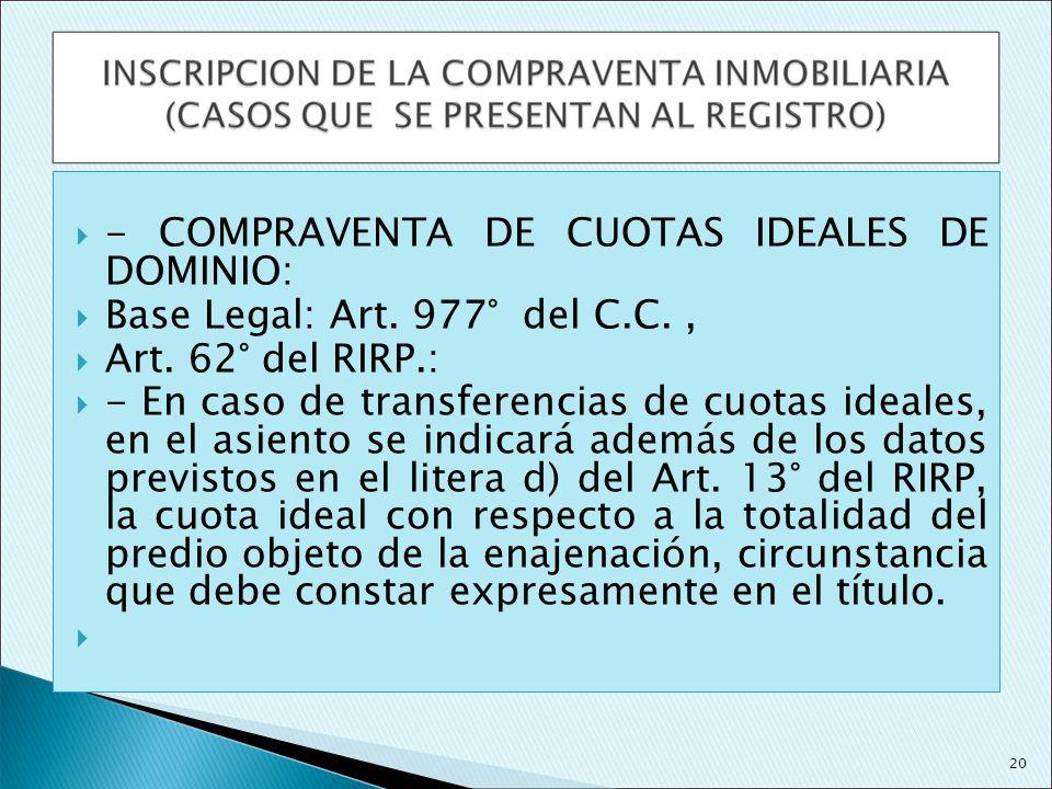 - COMPRAVENTA DE CUOTAS IDEALES DE DOMINIO: