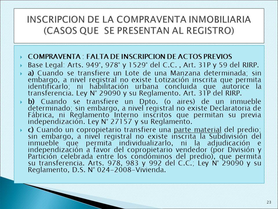 COMPRAVENTA : FALTA DE INSCRIPCION DE ACTOS PREVIOS