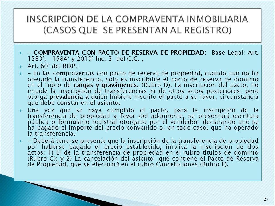 - COMPRAVENTA CON PACTO DE RESERVA DE PROPIEDAD: Base Legal: Art