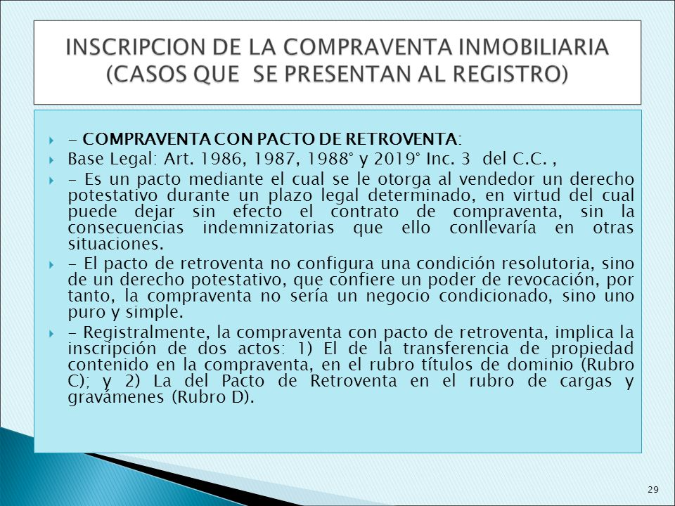 - COMPRAVENTA CON PACTO DE RETROVENTA: