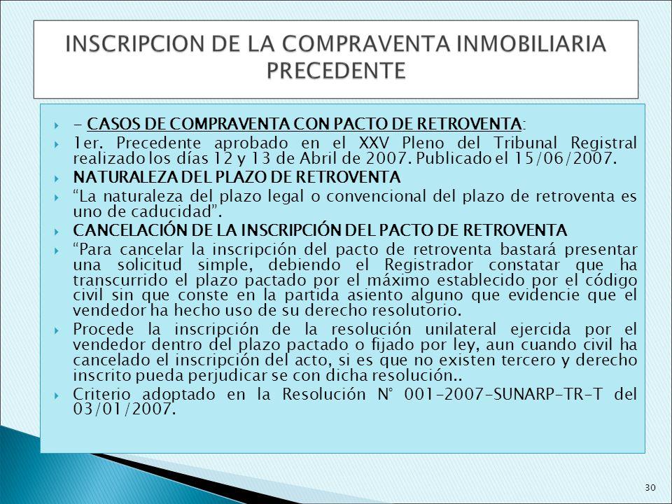 - CASOS DE COMPRAVENTA CON PACTO DE RETROVENTA:
