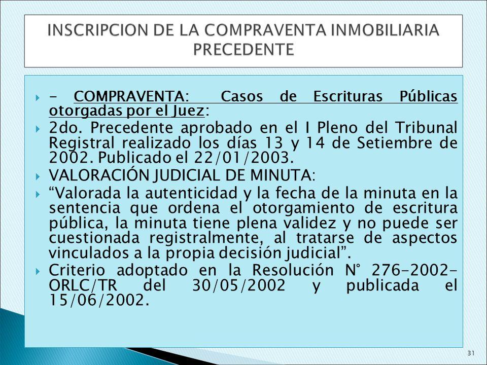VALORACIÓN JUDICIAL DE MINUTA: