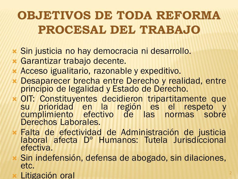 OBJETIVOS DE TODA REFORMA PROCESAL DEL TRABAJO