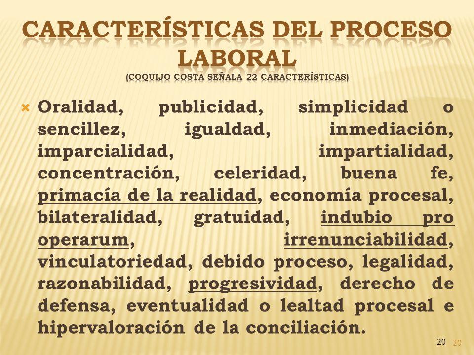 CARACTERÍSTICAS DEL PROCESO LABORAL (Coquijo Costa señala 22 características)