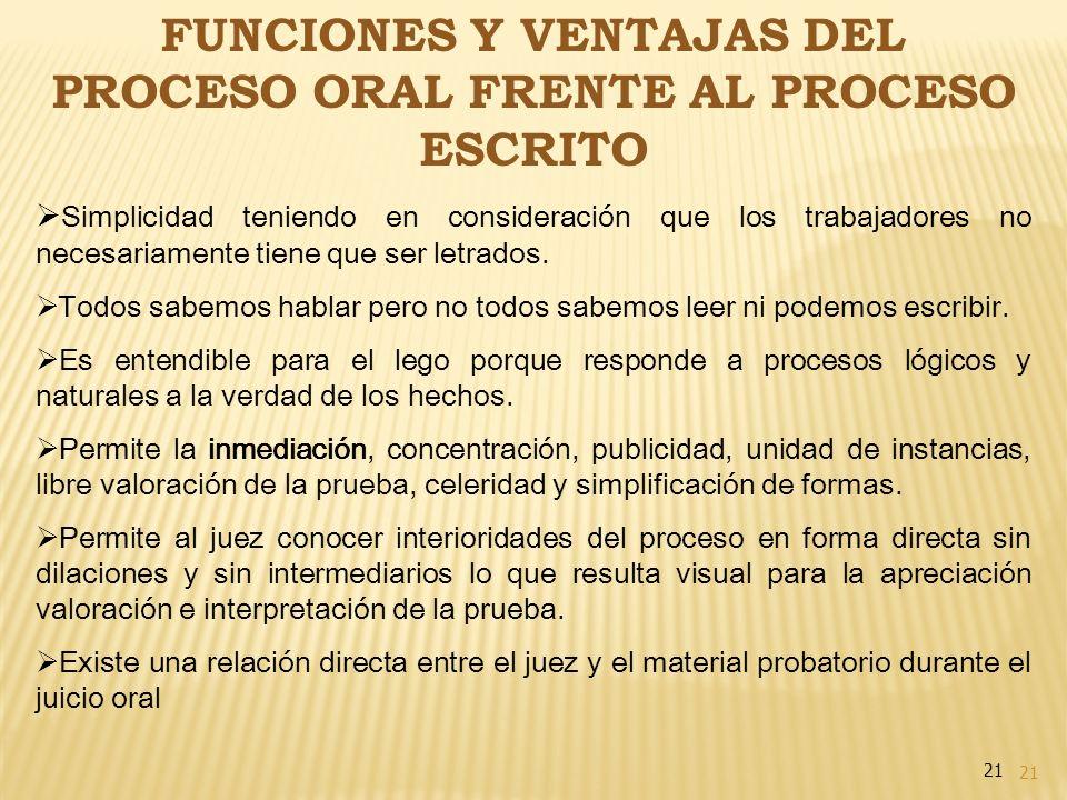 FUNCIONES Y VENTAJAS DEL PROCESO ORAL FRENTE AL PROCESO ESCRITO