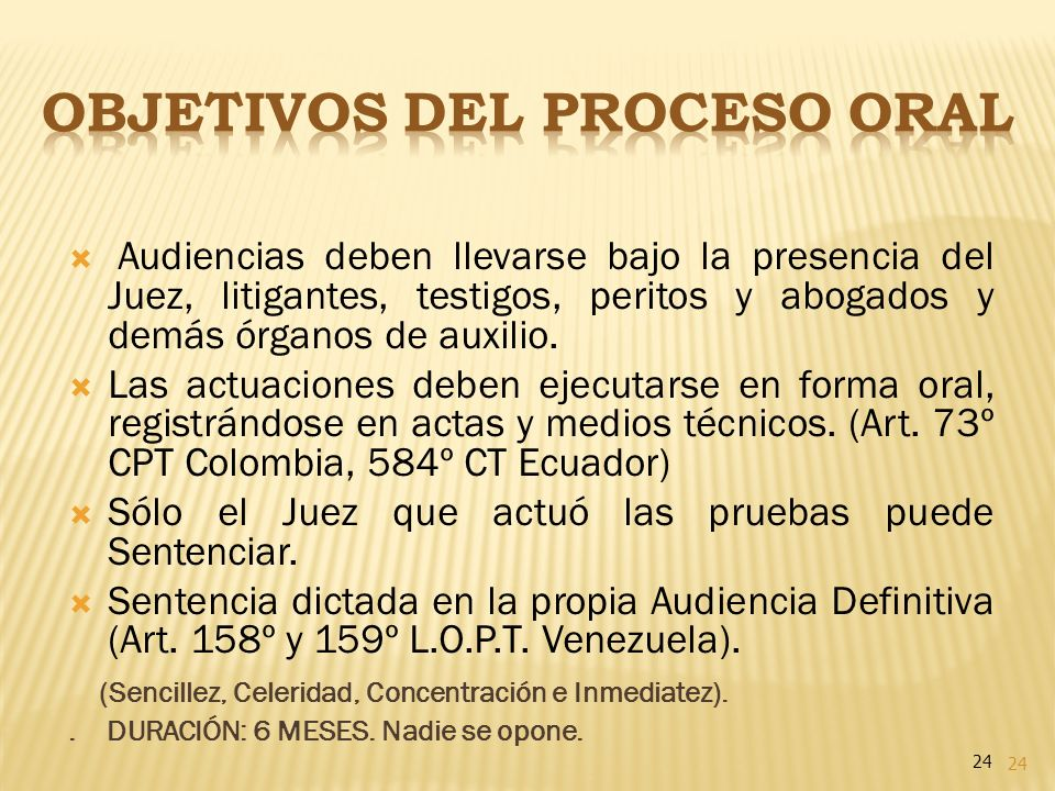 OBJETIVOS DEL PROCESO ORAL