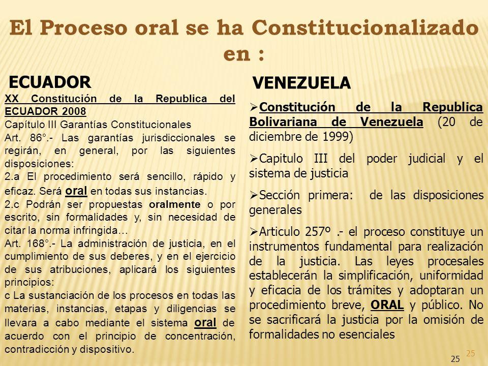 El Proceso oral se ha Constitucionalizado en :