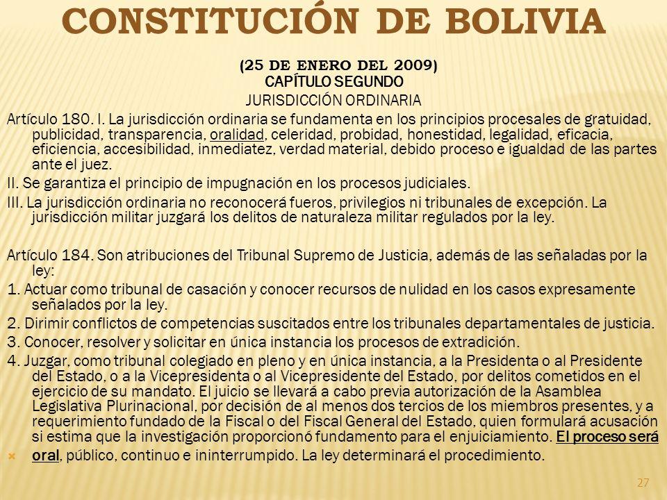 CONSTITUCIÓN DE BOLIVIA (25 DE ENERO DEL 2009)
