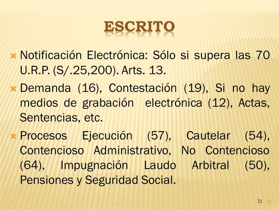 ESCRITO Notificación Electrónica: Sólo si supera las 70 U.R.P. (S/.25,200). Arts. 13.