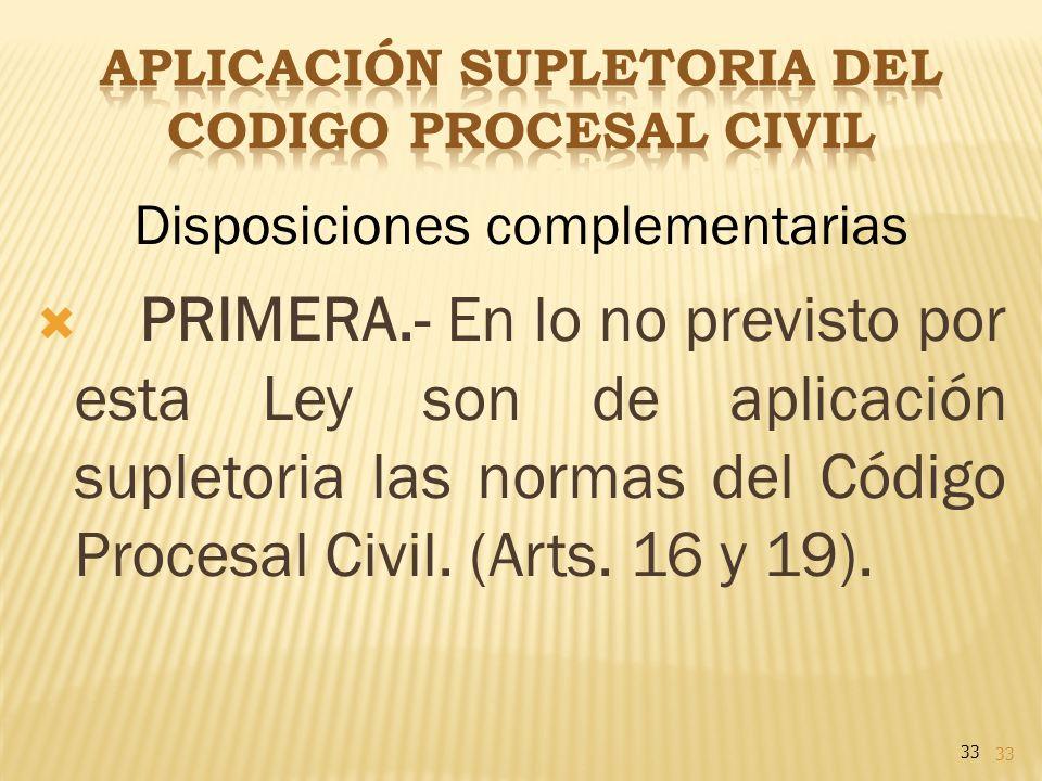 APLICACIÓN SUPLETORIA DEL CODIGO PROCESAL CIVIL