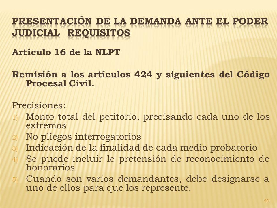 PRESENTACIÓN DE LA DEMANDA ANTE EL PODER JUDICIAL REQUISITOS