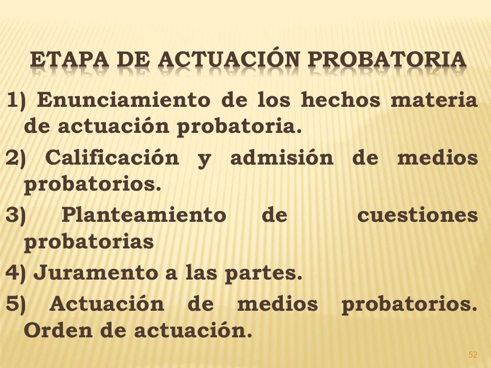 ETAPA DE ACTUACIÓN PROBATORIA