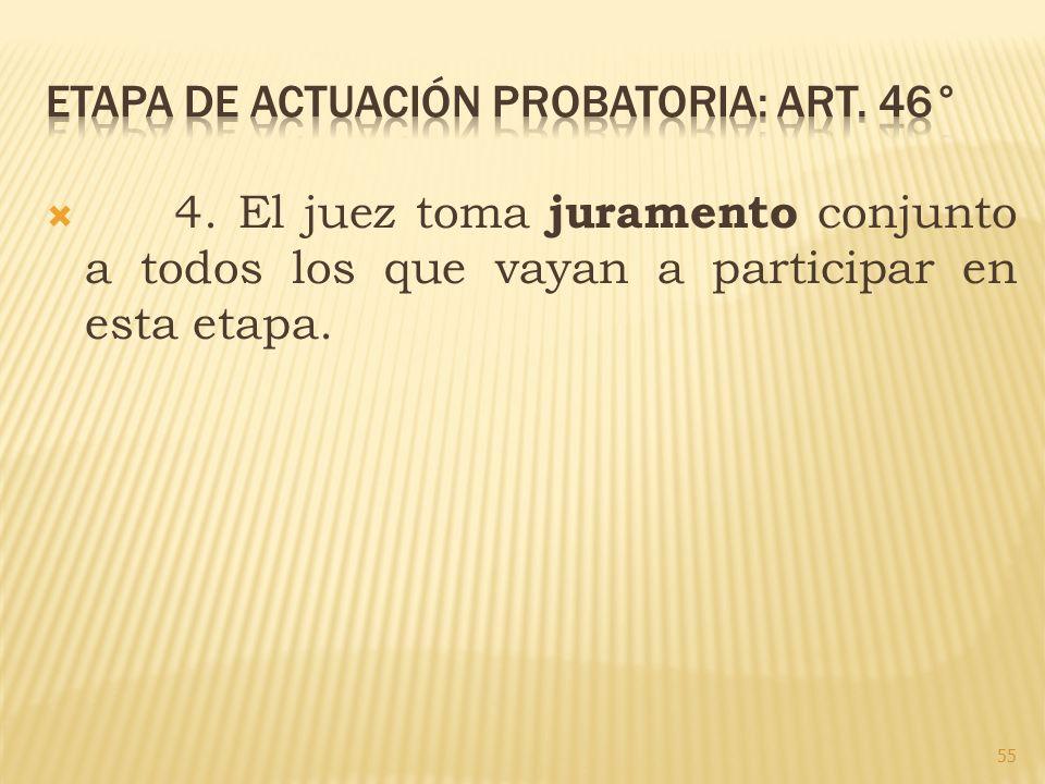Etapa de actuación probatoria: art. 46°