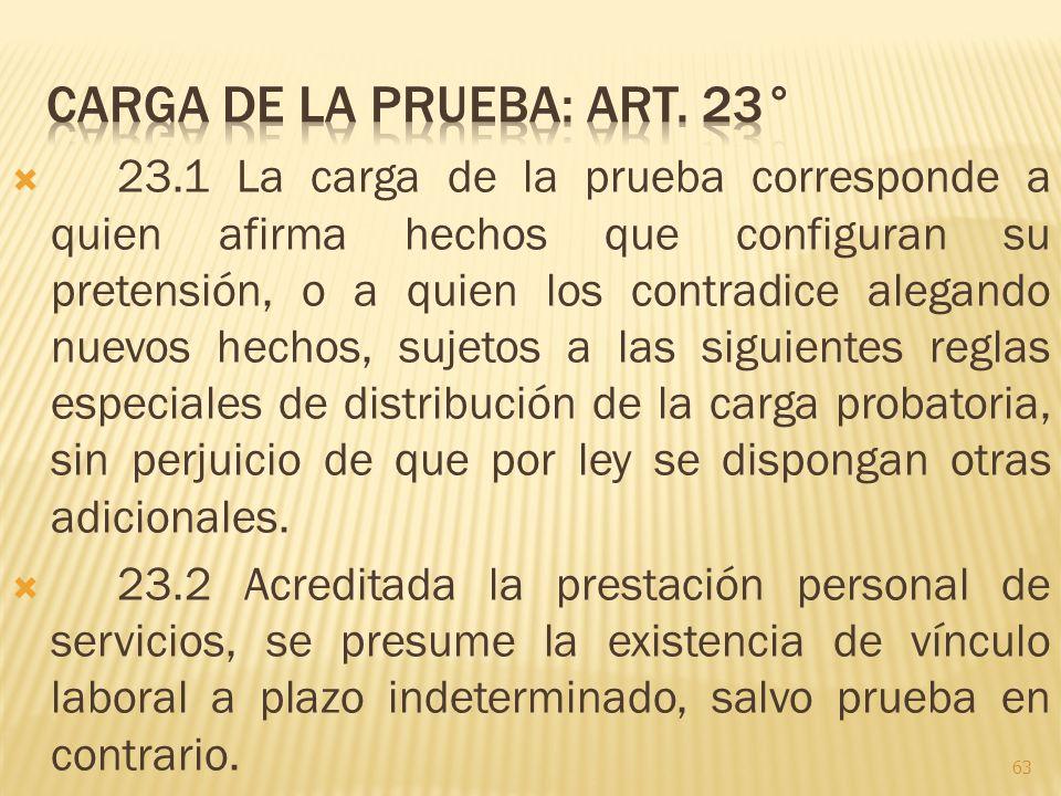 Carga de la prueba: Art. 23°