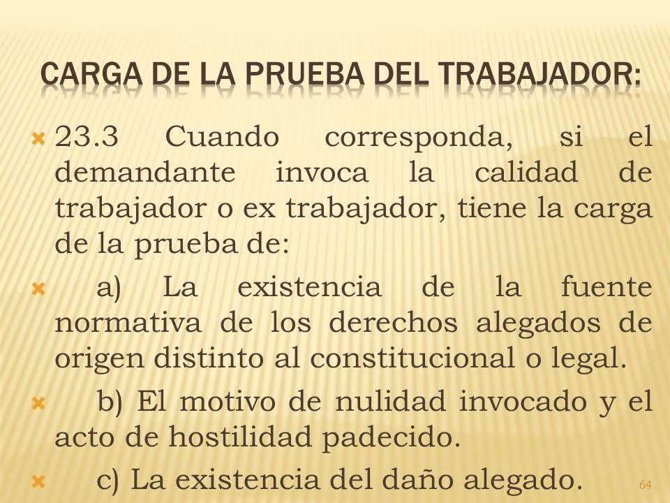 CARGA DE LA PRUEBA DEL TRABAJADOR:
