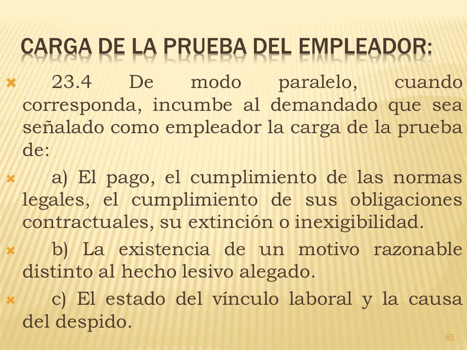 CARGA DE LA PRUEBA DEL EMPLEADOR: