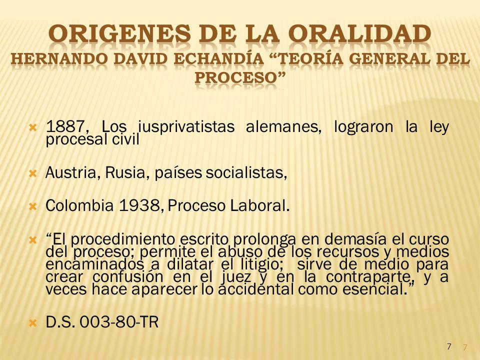 ORIGENES DE LA ORALIDAD Hernando David Echandía Teoría GENERAL del Proceso